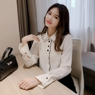 白色雪紡襯衫女春秋長袖設計感小眾2020年新款刺繡寬鬆女士襯衣