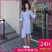 梨卡★現貨 - 韓版V領條紋綁帶不規則縮腰長袖連身裙連身長裙沙灘裙洋裝C6253