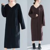 洋裝 連身裙 2020秋冬季新款文藝大碼純色打底洋裝女寬鬆V領顯瘦過膝長裙子