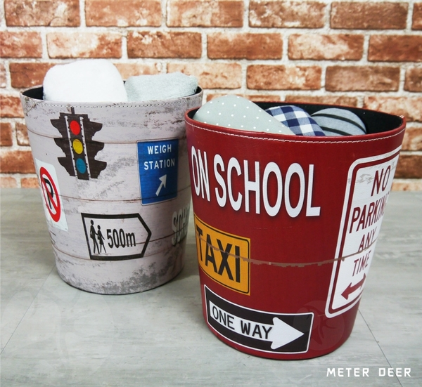 垃圾桶 收納桶 皮革製廢紙簍 復古流行紅綠燈路牌標誌造型 美式工業風 防潑水置物籃-米鹿家居