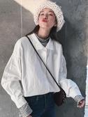 秋季新款韓版百搭休閒燈籠長袖上衣寬鬆polo領白色襯衫女學生 遇見初晴