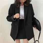 西裝套裝含外套+短裙(兩件套)-簡約休閒純色寬鬆女西服2色73xs7[巴黎精品]