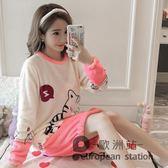 珊瑚絨睡衣女冬季長袖韓版可愛卡通清新款法蘭絨睡裙家居服