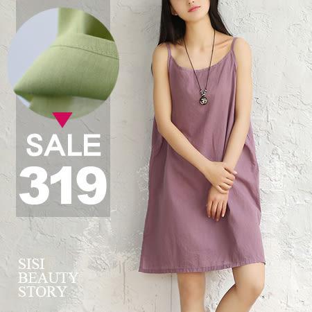 SISI【V6019】清新舒適百搭細肩吊帶寬鬆中長款背心連身裙純色背心洋裝