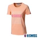 K-SWISS Modern Logo Tee棉質吸排T恤-女-粉橘
