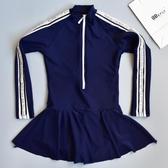 韓版學院風女童泳衣 中大童12-15歲學生少女泳衣防曬裙式連體泳衣