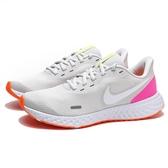 NIKE REVOLUTION 5 白 桃橘 基本款 運動 健身 慢跑鞋 女 (布魯克林) BQ3207-007