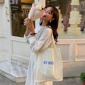帆布袋 素色 字母 文藝 帆布袋 手提包 單肩包 購物袋--手提/單肩【SPE163】 BOBI  08/29