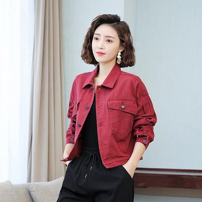 機車牛仔外套~韓版酒紅色牛仔外套女短款純色寬松工裝夾克牛仔衣潮8118MC046莎菲娜