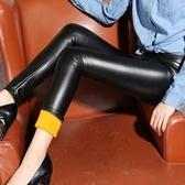 皮褲 2020新款高腰加絨加厚打底褲秋冬外穿女長褲大碼黑色鉛筆褲【果寶時尚】