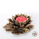 古銅蓮花燭台  + 六字真言酥油粒(鐵盒)紅色18入 【十方佛教文物】