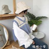 韓版時尚休閒套裝秋季女裝純色長袖襯衫 短款套頭針織馬甲兩件套  嬌糖小屋