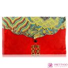 O'Pretty 歐沛媞 緞面紅包袋/禮金袋-橫式囍字富貴金(18.5X11cm)【美麗購】