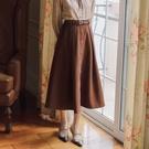 半身裙 女秋冬季新款韓版純色百搭半身裙中長款A字裙SEN9112# 【618特惠】