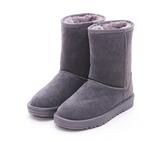 MICHELLE PARK 經典素面鋪毛麂皮牛皮保暖中筒雪鞋-灰