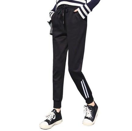 EASON SHOP(GU5035)側雙條紋運動褲鬆緊腰休閒棉褲女百搭長褲哈倫褲春夏裝彈力貼身黑白撞色雙口袋