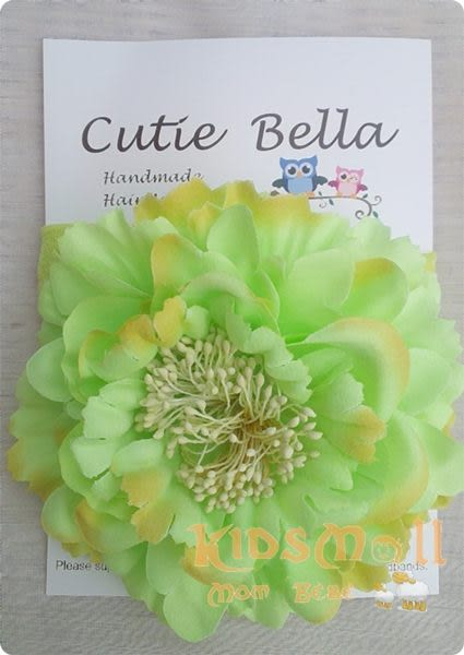 Cutie Bella彈性雪紡牡丹花髮帶-Mint/Sun