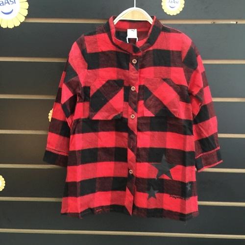 ☆棒棒糖童裝☆秋冬女童經典紅黑格子款長版襯衫 洋裝 326515-17