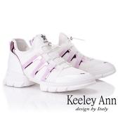★2019春夏★Keeley Ann輕運動潮流 炫彩拼接膠片元素休閒鞋(白色) -Ann系列