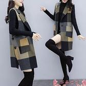西裝馬甲2021秋冬新款女裝韓版中長款馬夾時尚修身顯瘦氣質外套毛呢馬甲女 芊墨左岸