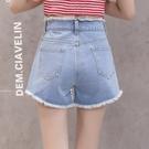 白色牛仔超短褲女夏2020新款韓版寬鬆學生百搭高腰闊腿a字熱褲 美芭
