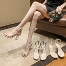2021夏季新款透明一字扣帶粗跟露趾涼鞋女水晶跟圓跟氣質高跟鞋34【快速出貨】