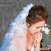 頭紗新款月下相戀短款流蘇風情精致新娘頭紗浪漫百搭柔軟頭紗  居家物語