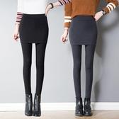 裙子 褲裙 韓版純棉打底褲裙女外穿秋季緊身包臀裙褲顯瘦帶裙長褲大碼『快速出貨』