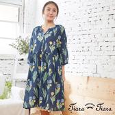 【Tiara Tiara】百貨同步aw 燦爛花開七分袖純棉洋裝(米/藍)