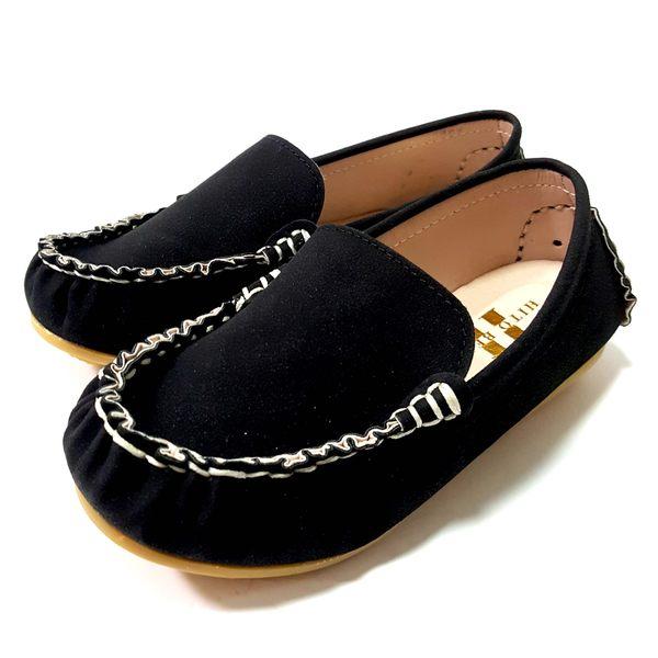 台灣製 絨布 簡約帥氣懶人鞋《7+1童鞋》A366黑色