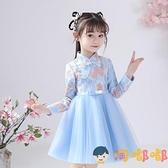 公主裙女童兒童花朵裙子洋裝連身裙秋裝小女孩禮服【淘嘟嘟】