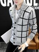男士韓版外套男帥氣秋裝針織衫春秋季毛衣褂子修身男裝衣服夾克男