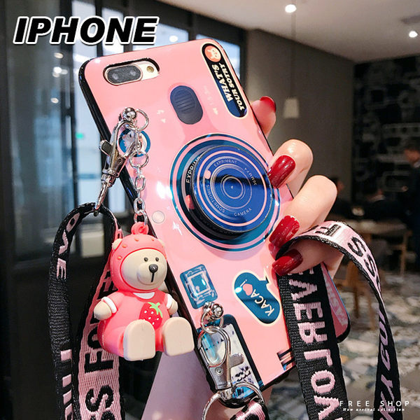 Free Shop 蘋果 iPhone X/XS/XS MAX/XR/8/7/6 藍光復古相機造型公仔氣囊支架手機殼【QAGR30236】