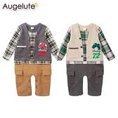 長袖連身衣 假兩件 復古 格紋 男寶寶 爬服 哈衣 Augelute Baby 47012