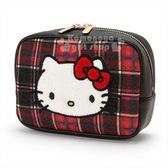 〔小禮堂〕Hello Kitty Black 絨毛皮質方型化妝包《紅黑》收納包.蘇格蘭紋生日慶 4901610-06276