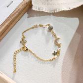手環 簡約 鑲鑽 星星 月亮 鍊條 拼接 多元素 甜美 手鍊 手環 手飾【DD1905160】 ENTER  09/05