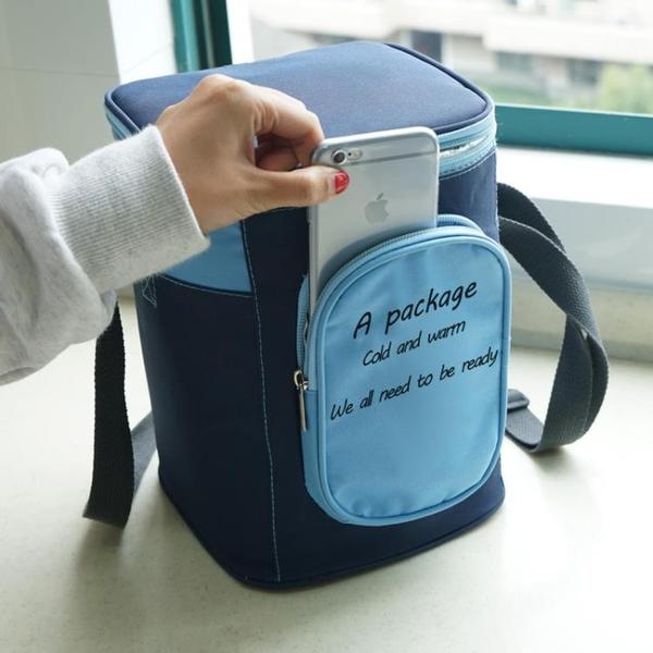 韓式飯盒手提包便當袋大號加厚鋁箔保溫袋圓形上班帶飯袋子飯桶包 創意新品