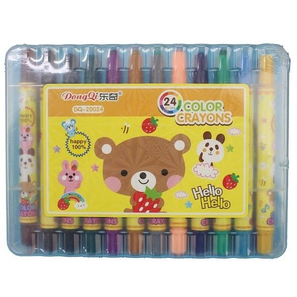 24色旋轉蠟筆 東奇 DQ-20024 (短型盒裝)/一箱12小盒入(促149) 彩桿-萬