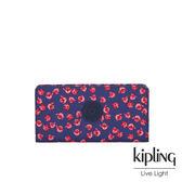 Kipling 古典茜紅小花多卡層磁釦長夾-JOANNA