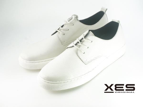 XES 綁帶小白休閒鞋 真皮體驗 男款 白色