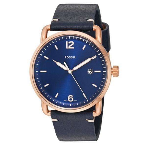 FOSSIL RUNWAY簡約時標時尚皮革腕錶(FS5274)-藍x44mm