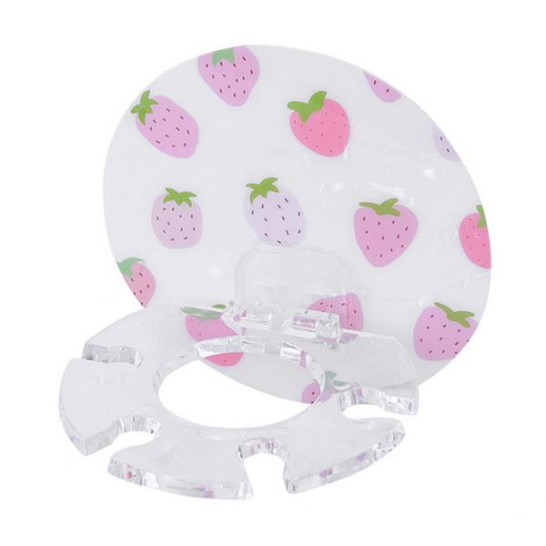 【BlueCat】櫻桃花朵圓形無痕牙刷牙膏收納架