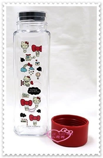 小花花日本精品♥ Hello Kitty 簡單 紅蓋 透明 旅行 飛機 熱氣球 方便攜帶 水壺 11275404