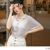 《AB13284》高含棉直條紋配色短袖襯衫上衣--適 XL~5L OrangeBear