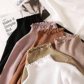 長袖 2019秋冬新款修身厚內搭純色半高領木耳邊針織衫長袖毛衣女打底衫 免運費