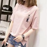 夏季韓版純棉短袖t恤女寬鬆韓版學生卡通刺繡百搭半袖上衣服      檸檬衣舍