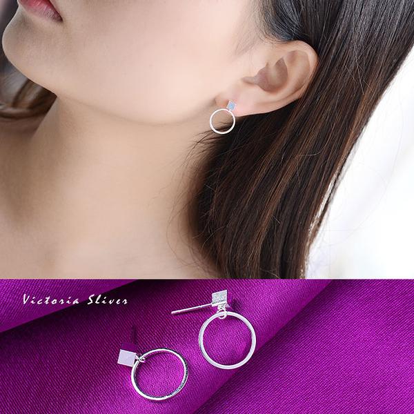 S925銀 簡約方塊圓圈耳環-維多利亞180516