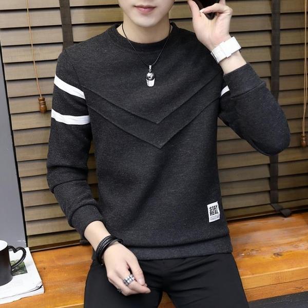 長袖T恤男 男士長袖t恤圓領打底衫男裝2020春季新款潮流韓版修身秋衣上衣服 薇薇