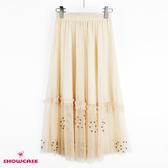 【SHOWCASE】唯美珍珠下襬細褶網紗鬆緊腰百搭中長層次紗裙(杏)
