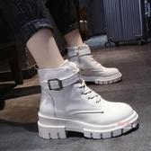 瘦瘦靴 馬丁靴女英倫風秋冬加絨棉鞋2019新款冬季百搭網紅瘦瘦靴粗跟短靴35-40碼 2色